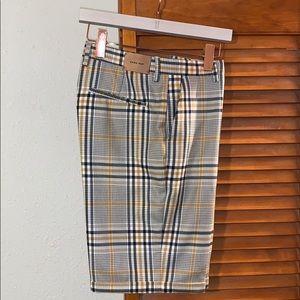 Men's Zara Grey and Blue Plaid Shorts Size 32